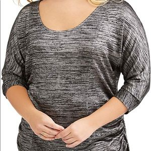 Faded Glory Plus Size Top Black & Gray